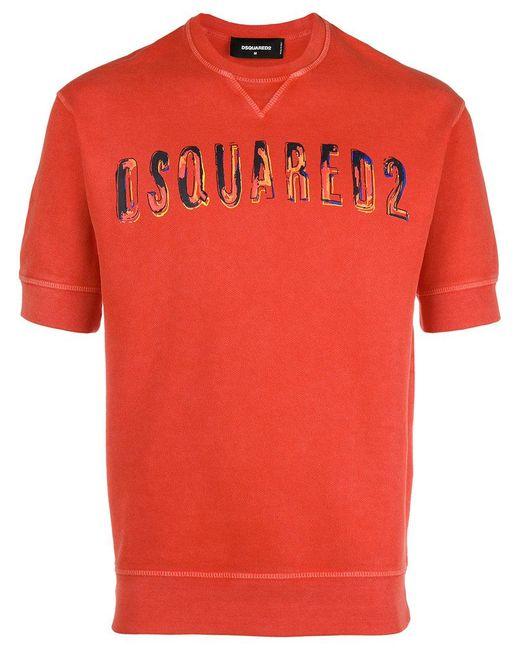DSquared² - Red Logo Printed Short-sleeved Sweatshirt for Men - Lyst