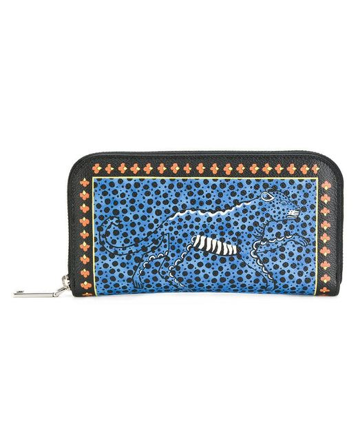 Etro | Blue Cheetah Print Continental Wallet | Lyst