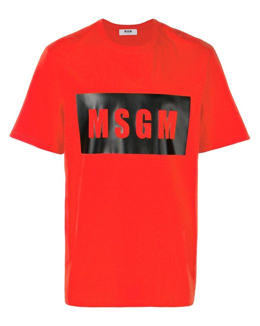 MSGM - Red Logo T-shirt for Men - Lyst