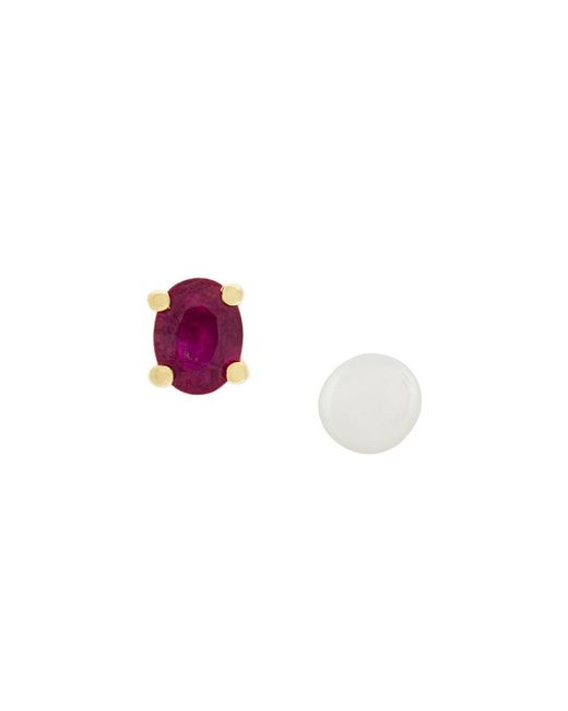 Wouters & Hendrix - White Pearl And Ruby Stud Earrings - Lyst