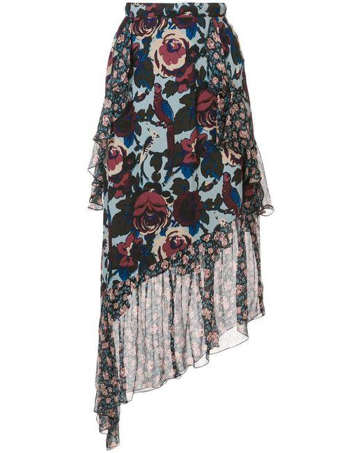 Anna Sui - Blue Floral Print Asymmetric Skirt - Lyst