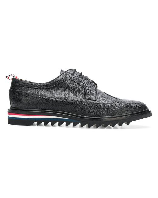 Thom Browne - Black Pebbled Saw Sole Brogues for Men - Lyst