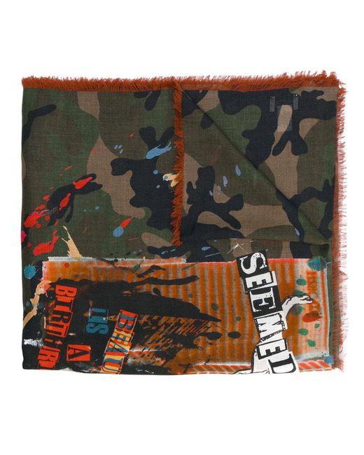 Valentino | Green Garavani Thin Camouflage Print Scarf for Men | Lyst