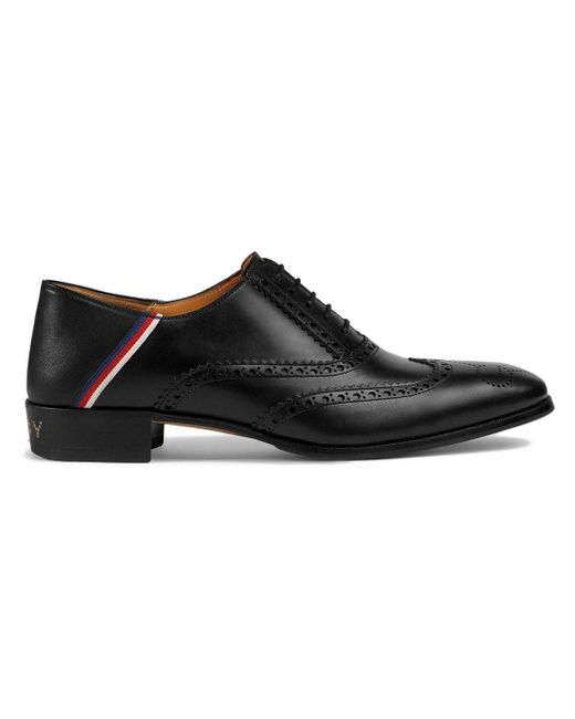 Gucci Black Sylvie Web Brogues for men