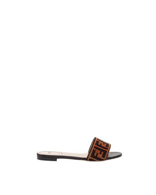 Fendi - Brown Open Toe Flat Sandals - Lyst