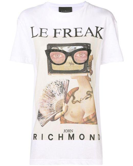 John Richmond - White Le Freak T-shirt - Lyst