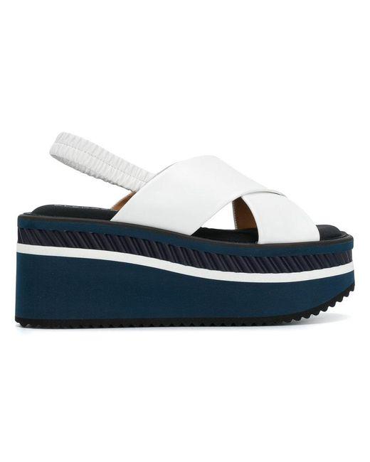 Robert Clergerie - White Cross Platform Sandals - Lyst