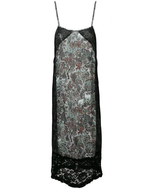 I'm Isola Marras - Black Floral Print Lace Panel Shift Dress - Lyst