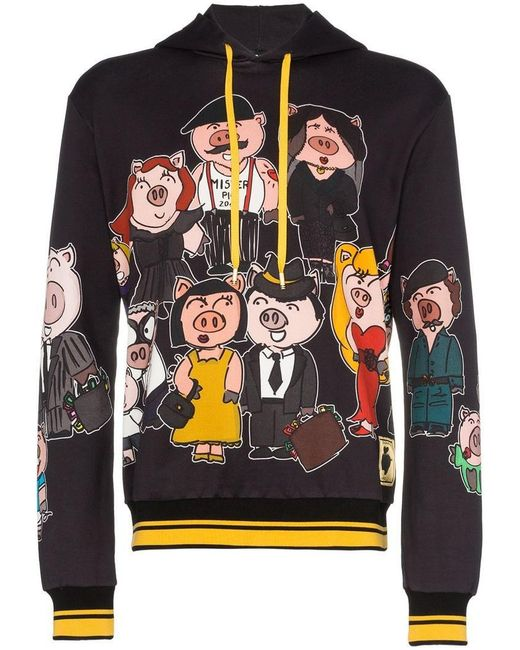 7eaf07aee Dolce   Gabbana - Black Sudadera Pig Family estampada con capucha for Men -  Lyst ...