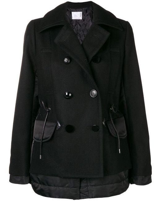 Sacai - Black Two Textile Military Coat - Lyst
