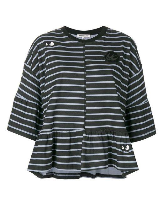 McQ Alexander McQueen - Black Striped Peplum T-shirt - Lyst