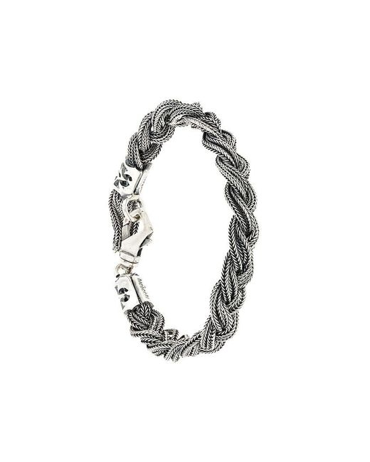 Emanuele Bicocchi - Metallic Braided Bracelet for Men - Lyst