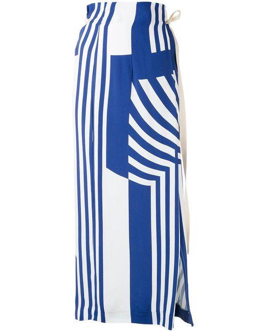 Erika Cavallini Semi Couture | Blue Striped Maxi Skirt | Lyst