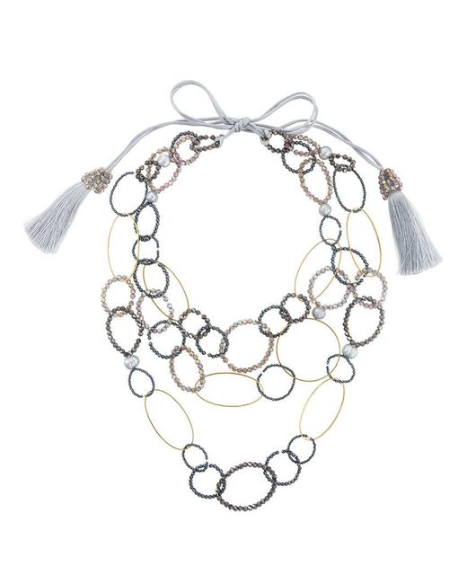 Night Market - Gray Bead And Ring Layered Necklace - Lyst