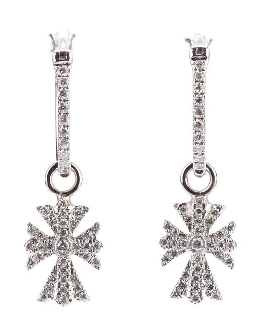 Elise Dray - White Diamond Cross Earrings - Lyst