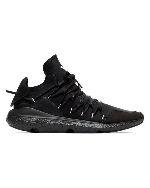 d6be8bf0d Lyst - Y-3 Black Leather Kusari Sneaker in Black for Men