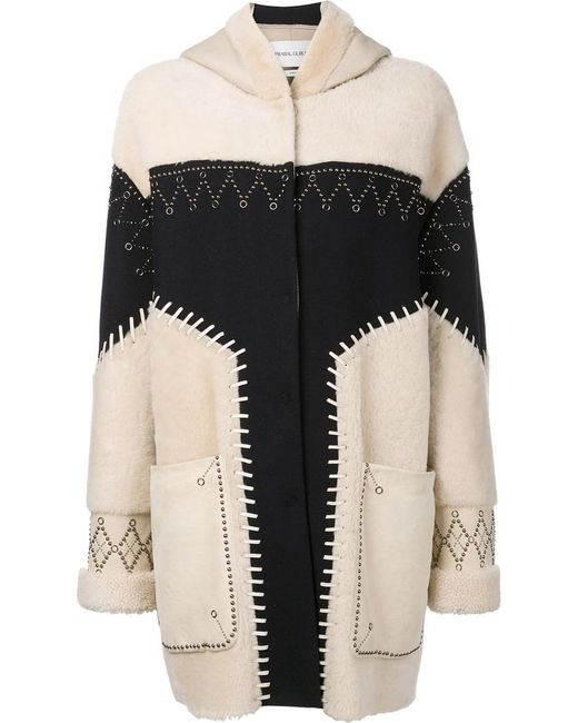Prabal Gurung | Multicolor Studded Shearling Coat | Lyst