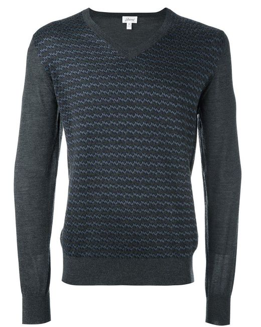 Brioni | Gray V-neck Jumper for Men | Lyst