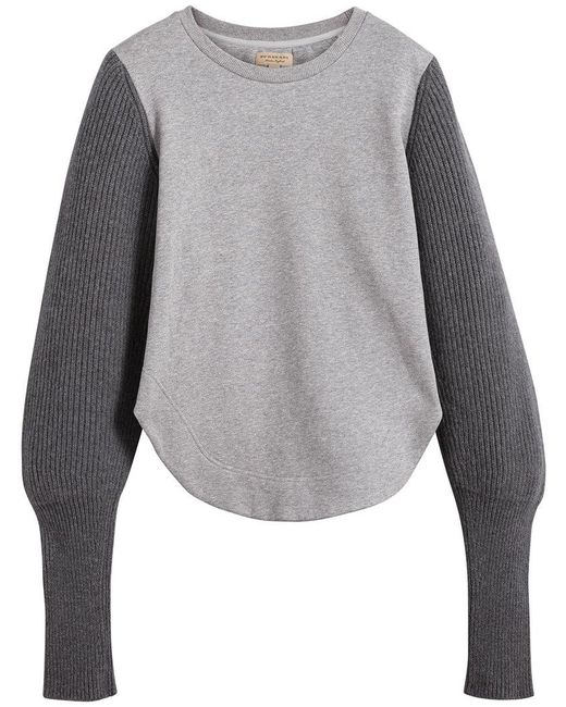 Burberry - Gray Rib Knit-sleeve Sweatshirt - Lyst