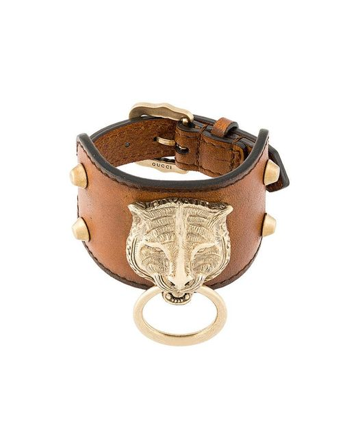 Gucci - Brown Leather Bracelet With Feline Head - Lyst