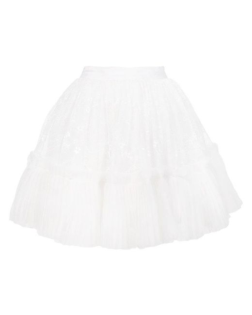 Amen - White Tiered Lace Ruffle Circle Skirt - Lyst