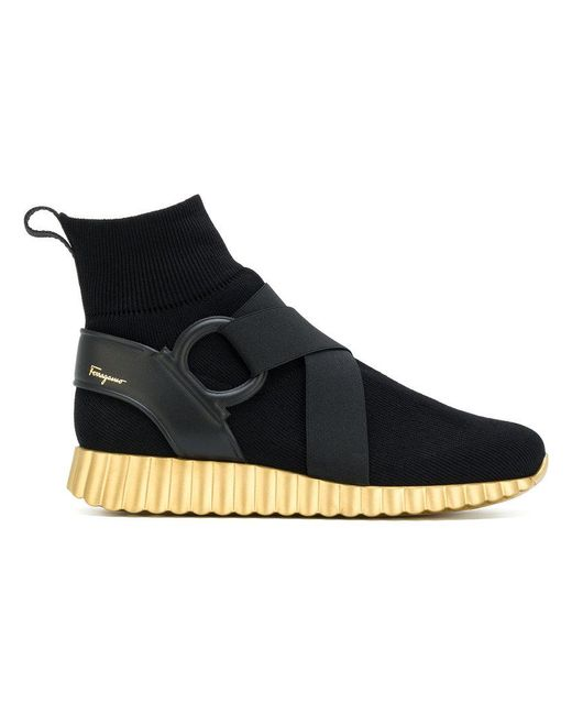 cf8c207de0 Lyst - Ferragamo Hi-top Wave Sole Sneakers in Black - Save 53%