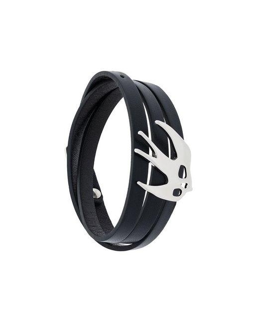 McQ Alexander McQueen | Black Enameled Swallow Bracelet | Lyst