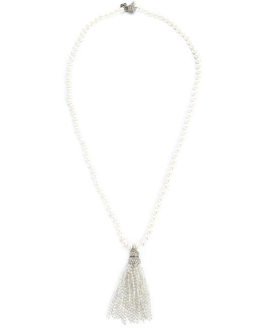 Oscar de la Renta   White Bead Fringe Tassel Necklace   Lyst