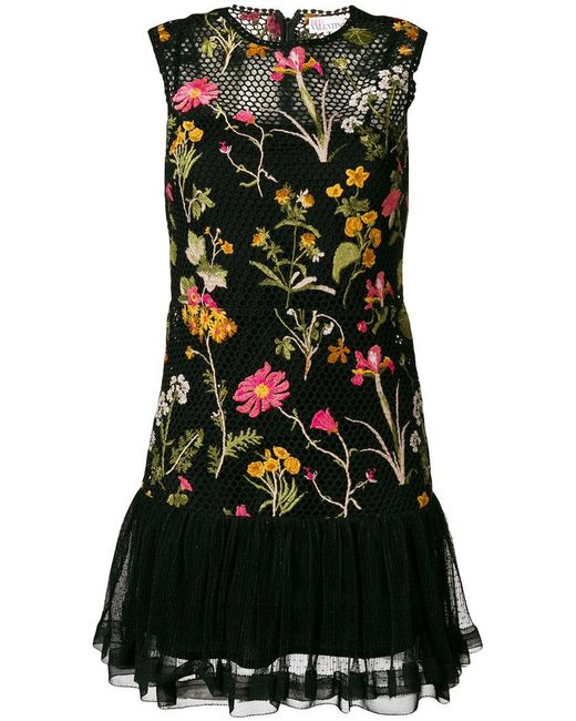 RED Valentino - Black Floral Embroidered Mini Dress - Lyst
