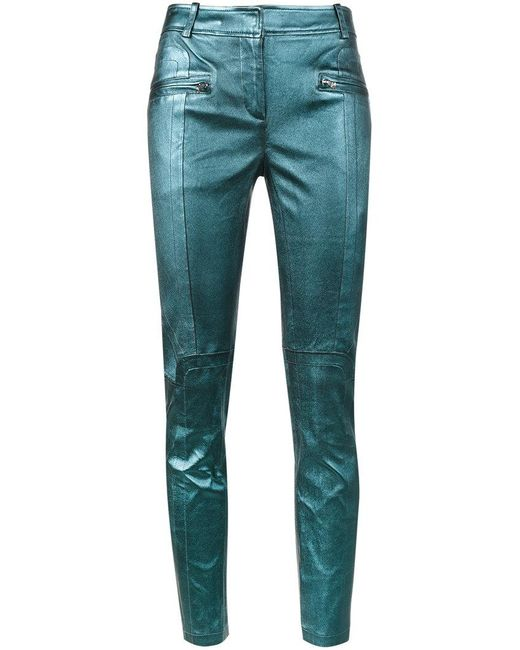 Sies Marjan - Blue Louise Leather Crop Biker Trousers - Lyst