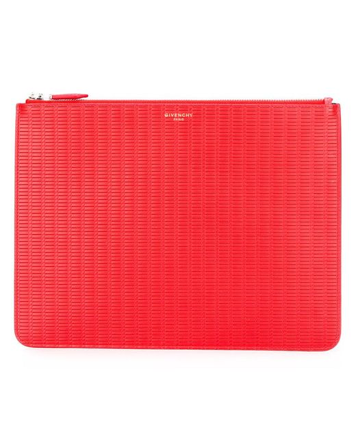 Givenchy - Red Braided Zip Clutch for Men - Lyst