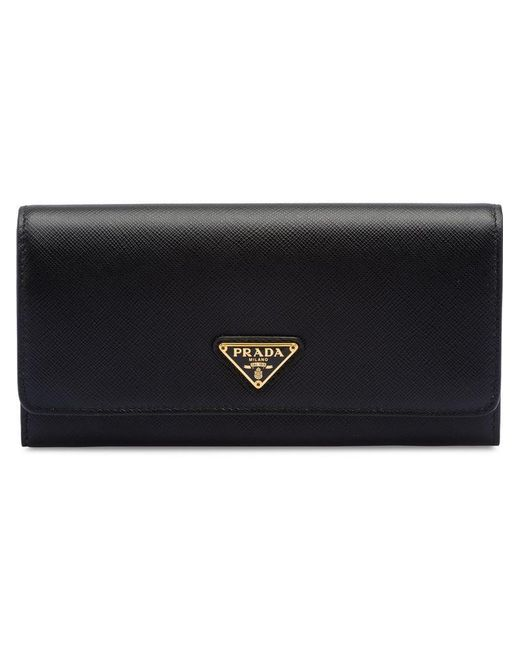 1e31623e59fbf3 Prada - Black Saffiano And Banana Print Wallet - Lyst ...