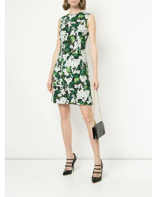 5ae9e1e135c ... Lyst Dolce   Gabbana - Green White Geranium Printed Cady Dress ...