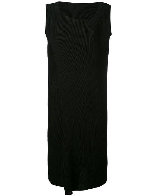 Issey Miyake   Black Asymmetric Neck Midi Plissé Dress   Lyst