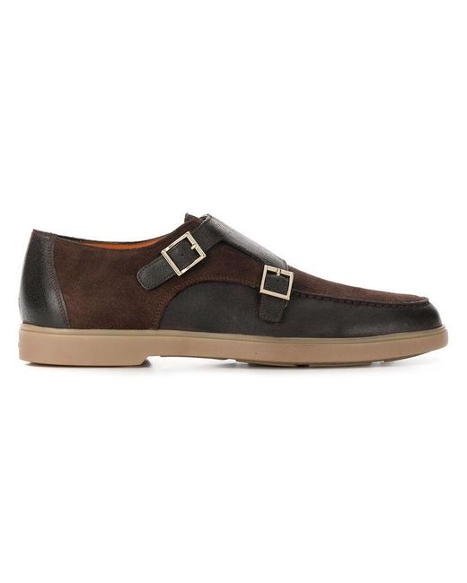 c42e04a4060052 Santoni - Brown Double-monk Loafers for Men - Lyst ...