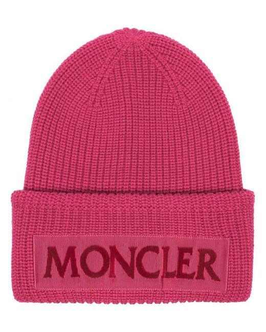 Moncler - Pink Flocked Grosgrain-trimmed Ribbed Wool Beanie - Lyst