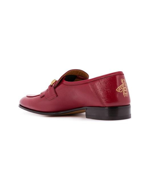 ddc1c9515cb ... Gucci - Red Horsebit Loafers for Men - Lyst ...