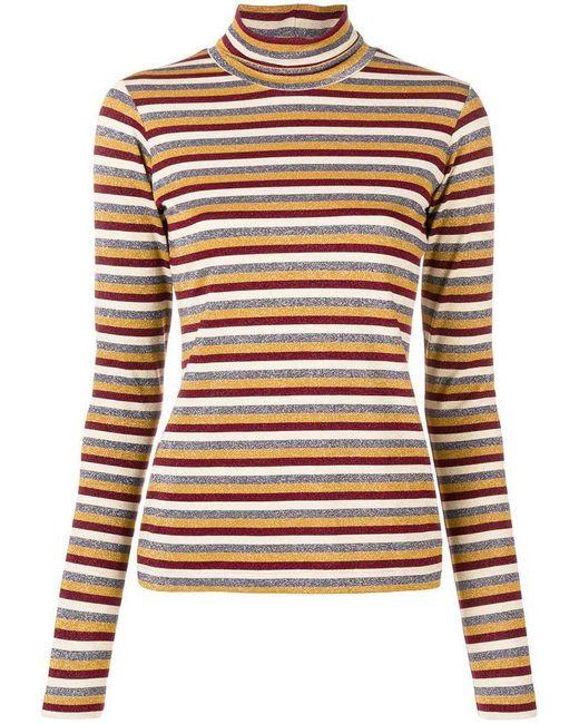 Antonio Marras - Red Stripe Metallic Turtleneck Sweater - Lyst