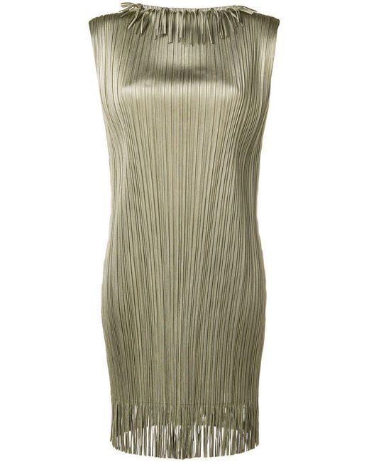 Pleats Please Issey Miyake - Metallic Pleated Shift Dress - Lyst