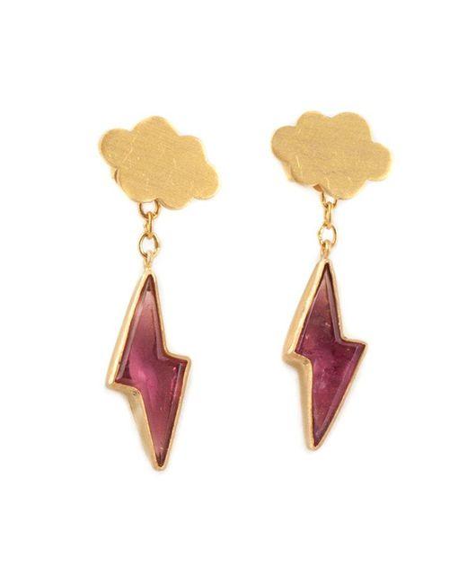 Marie-hélène De Taillac   Metallic 22kt Gold Cloud & Pink Tourmaline Lightning Bolt Earrings   Lyst