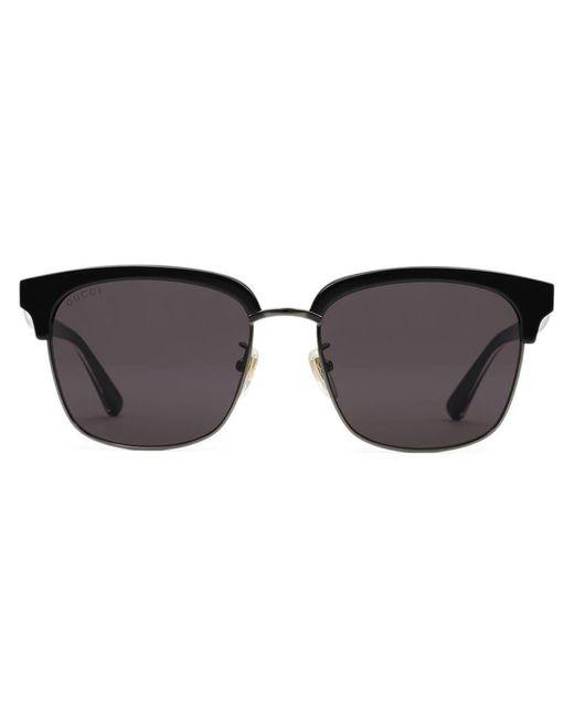 af74245afa0 Gucci - Black Rectangular-frame Metal Sunglasses for Men - Lyst ...