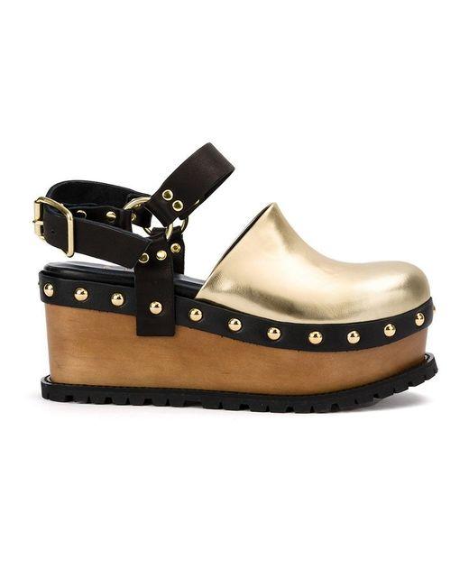 Sacai   Metallic Buckled Platform Clog Sandals   Lyst