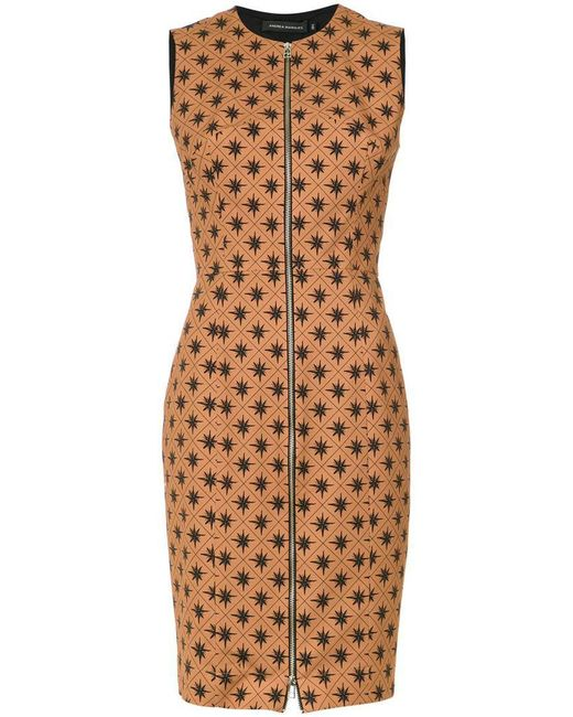 Andrea Marques - Brown Wind Rose Print Dress - Lyst