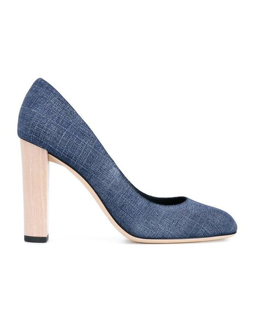 Jimmy Choo - Blue Laria Denim and Leather Pumps - Lyst