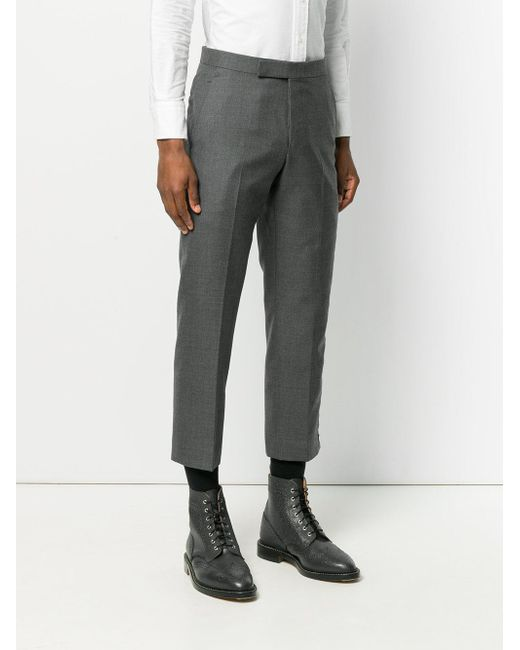 Button-Up Side Seam Solid Wool Twill Mid-rise Trouser - Grey Thom Browne q0fGj