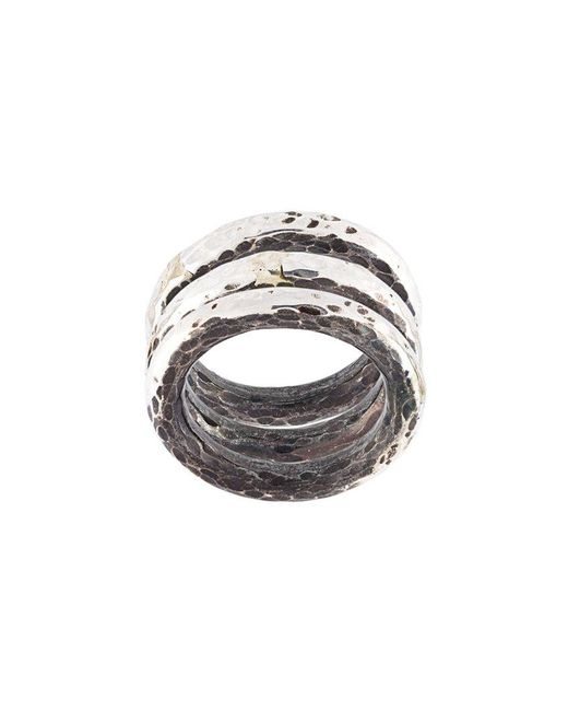 Henson - Metallic Hammered Ring Set - Lyst