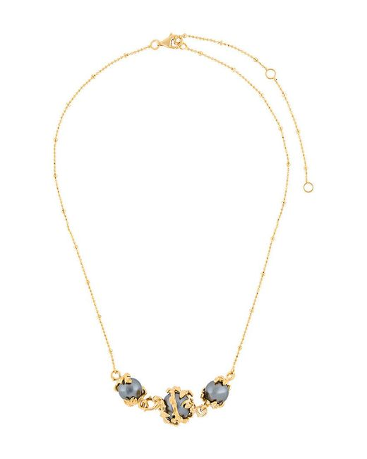 Kasun | Metallic Three Pearls Necklace | Lyst