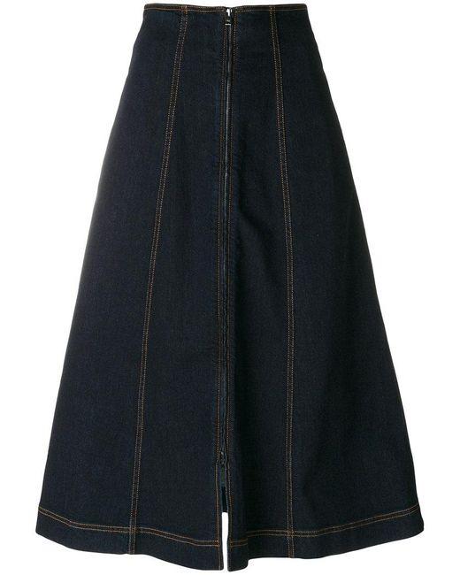 Fendi - Blue Denim Flared Midi Skirt - Lyst