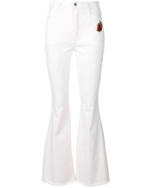 Dolce & Gabbana - White Sacred Heart Patch Flared Jeans - Lyst