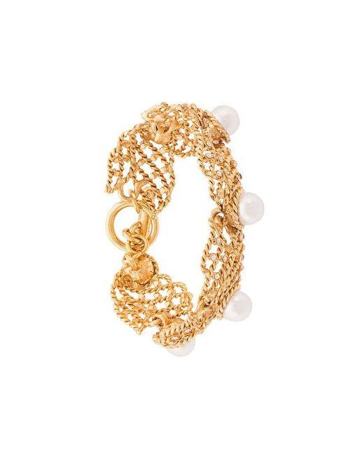 Oscar de la Renta - Yellow Faux Pearl Net Bracelet - Lyst